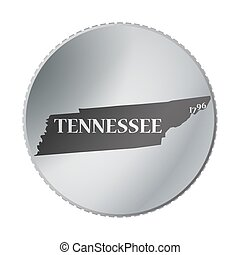 A Tennessee state coin isolated on a white background