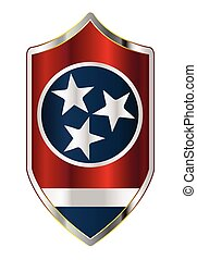 Tennessee State Flag On A Crusader Style Shield