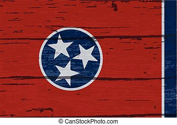 Tennessee State Flag On Old Timber