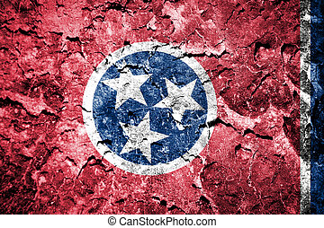 Tennessee State Flag painted on cracked wall