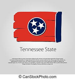 Tennessee State Flag with colored hand drawn lines in Vector Format