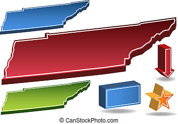 Tennessee State isolated on a white background.