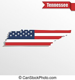 Tennessee State map with US flag inside and ribbon