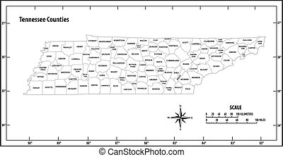 Tennessee state outline administrative and political vector map in black and white