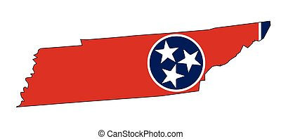 Tennessee State Outline Map and Flag