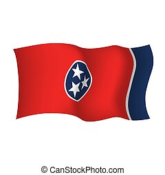 Tennessee state waving flag. Vector illustration of Tennessee state flag, USA