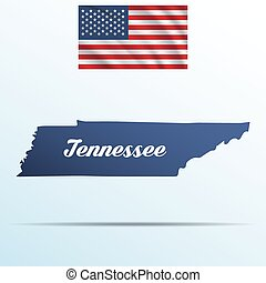 Tennessee state with shadow with USA waving flag