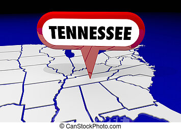 tennessee, tn, carte état, épingle, emplacement, destination, 3d, illustration