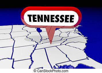 tennessee, tn, carte état, épingle, emplacement, destination, 3d, illustration