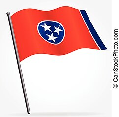 tennessee tn state flag flying on flagpole vector