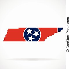 tennessee tn state flag map vector