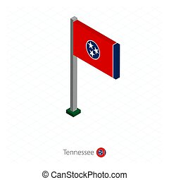 Tennessee US state flag on flagpole in isometric dimension.