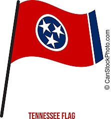 Tennessee (U.S. State) Flag Waving Vector Illustration on White Background
