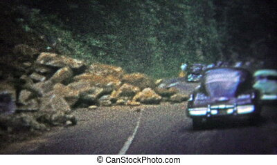 TENNESSEE, USA - 1952: Rock slide