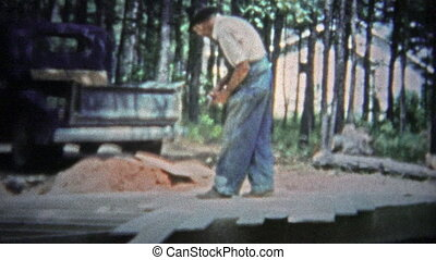 TENNESSEE, USA - 1953: Man laying floor - Unique vintage 8mm...