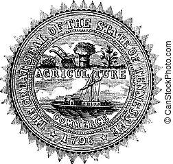 tennessee, vendimia, estado, engraving., sello