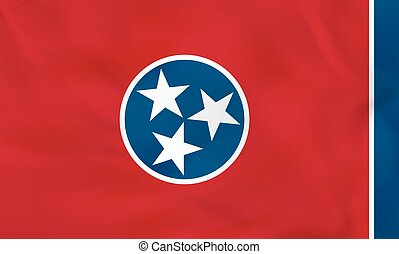 Tennessee waving flag. Tennessee state flag background texture.
