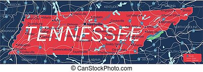 Tennesy state detailed editable map