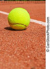 tennis, équipement, sur, cour argile