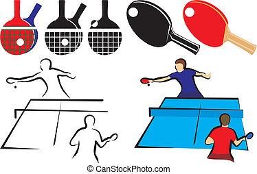 &, tennis, -, équipement, table, icône