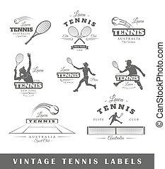 tennis, étiquettes, ensemble, vendange