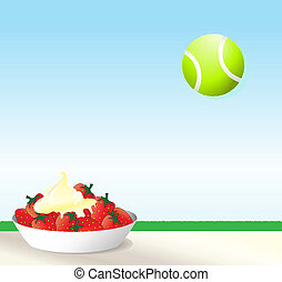 Tennis - A vector illustration of strawberries and cream...