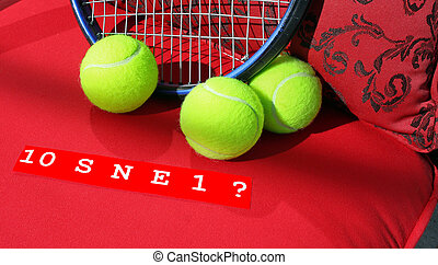 A photo of tennis balls, racket and 10 S N E 1.