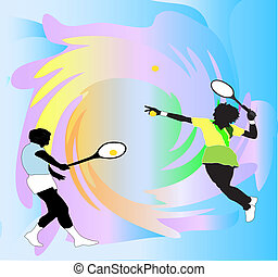 Male and Female tennis players against a vivid splash background