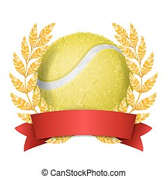 Tennis Award Vector. Sport Banner Background. Yellow Ball, Red Ribbon, Laurel Wreath. 3D Realistic Isolated Illustration