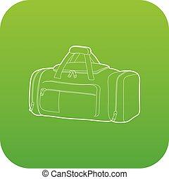 Tennis bag icon green vector