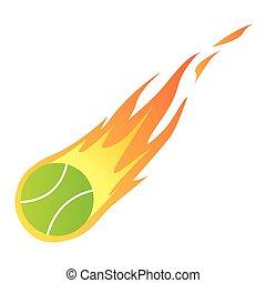 tennis bal, in, vuur