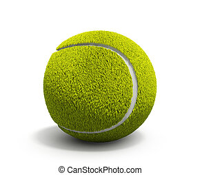 Tennis ball 3d render on white background