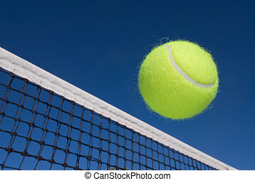 Tennis ball and net - An image depicting the concept of...