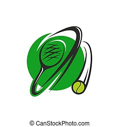 Tennis ball and racket icon for sport club design