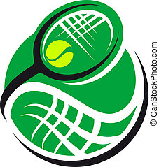 Tennis ball and racquet icon with a green ball and swirling...