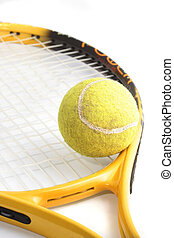 tennis ball and racquet