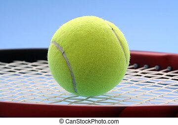 Tennis ball and tennis racquet