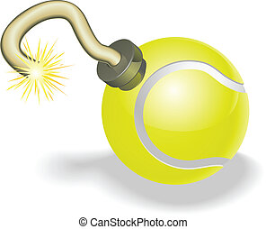 Retro cartoon tennis ball cherry bomb with lit fuse burning down. Concept for countdown to big tennis event or crisis.