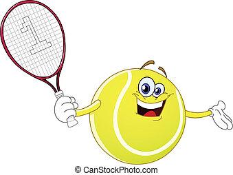 Tennis ball - Cartoon tennis ball holding his racket