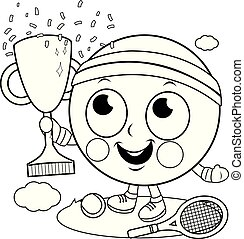 Tennis ball character champion cheering and holding a trophy. Vector black and white coloring page