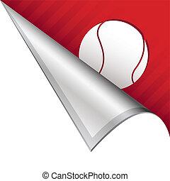 Tennis ball corner tab - Tennis ball sports icon on vector...