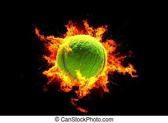 Tennis Ball in Hot Flames. Green Tennis Ball. Sport Theme