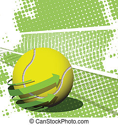 tennis ball - illustration, tennis ball on abstract green...