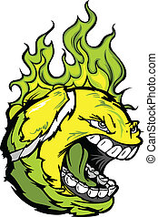 Tennis Ball Face with Flaming Hair Vector Image - Flaming...