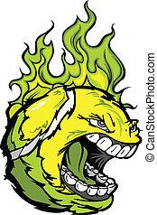 Tennis Ball Face with Flaming Hair Vector Image - Flaming...