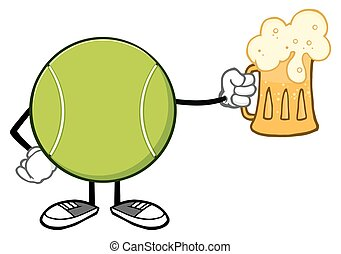 Tennis Ball Faceless Holding A Beer