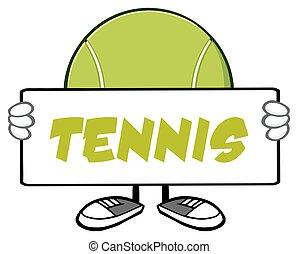 Tennis Ball Faceless Holding A Sign