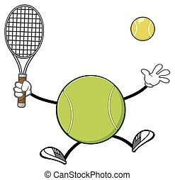 Tennis Ball Holding A Racket - Tennis Ball Faceless Player...