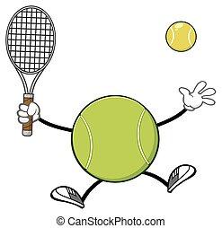 Tennis Ball Holding A Racket