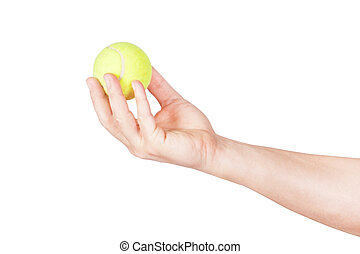 Tennis ball in his hand. On a white background.